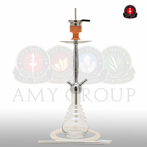 AMY Deluxe waterpijp CITYSCAPE 690R Chroom -TRANSPARANT